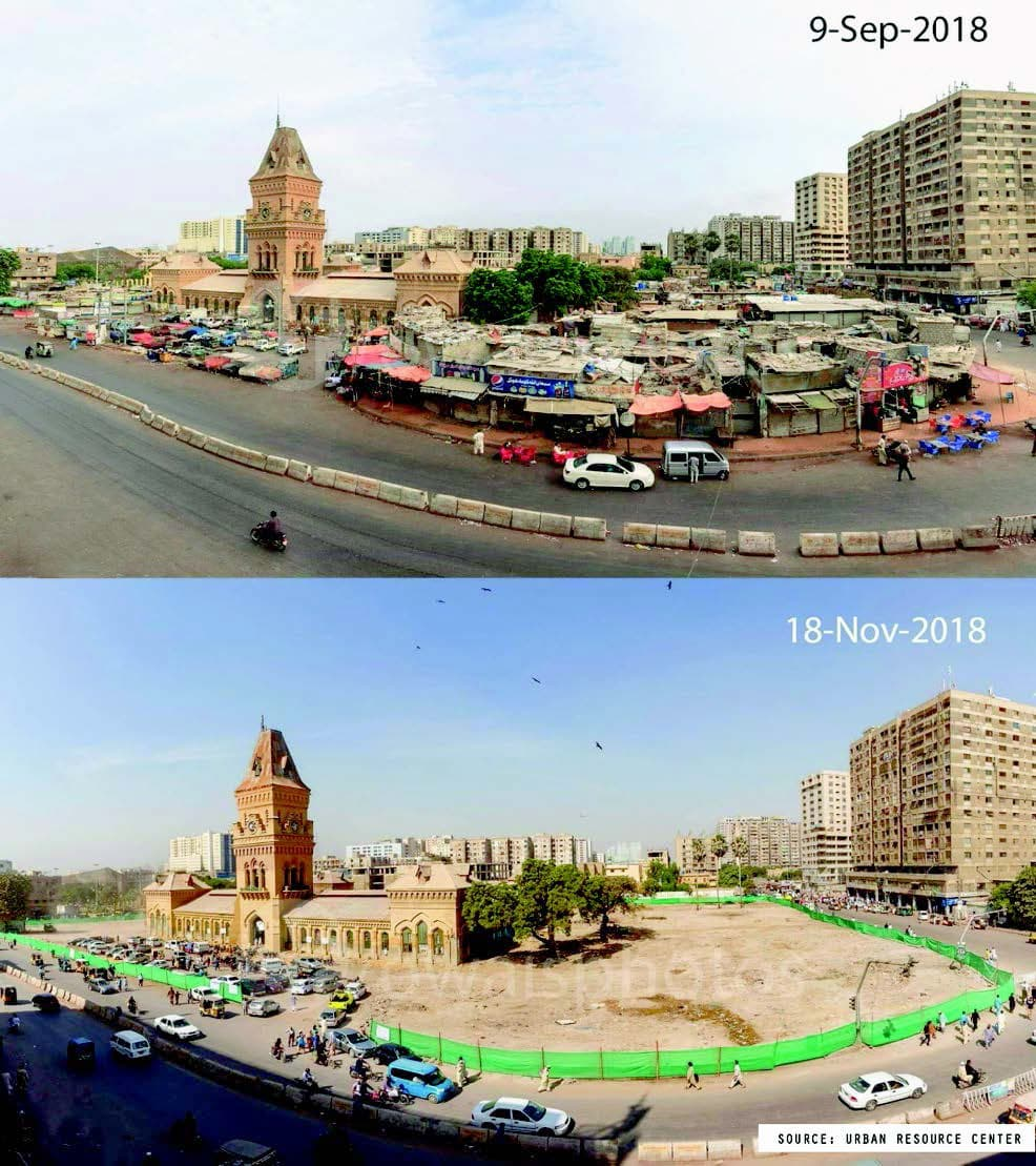 Before and after demolition of 'encroachments'.