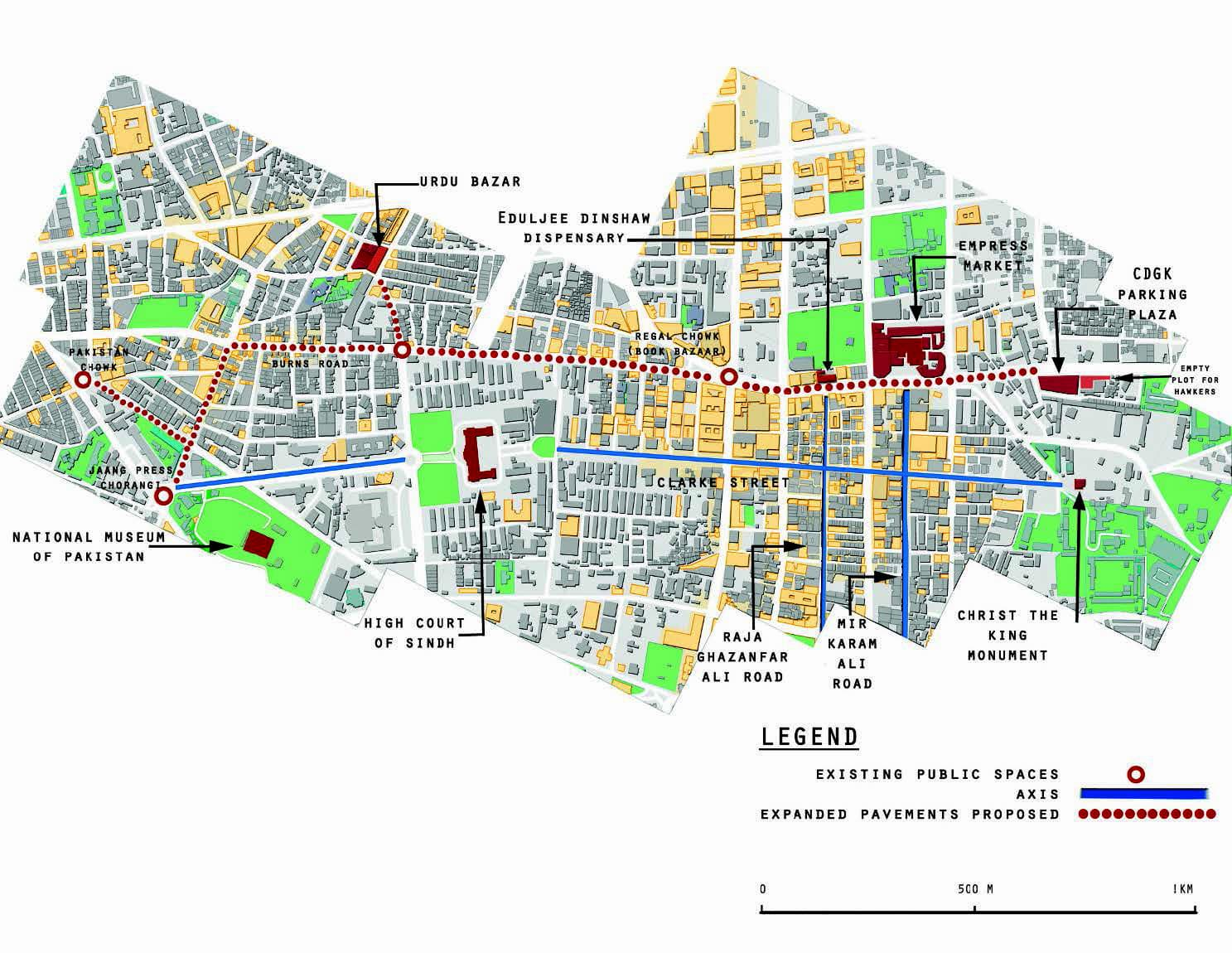 The map shows the proposed walkway linking the hawkers' market to Empress Market and continuing to the Burnes Road food street and Pakistan Chowk.