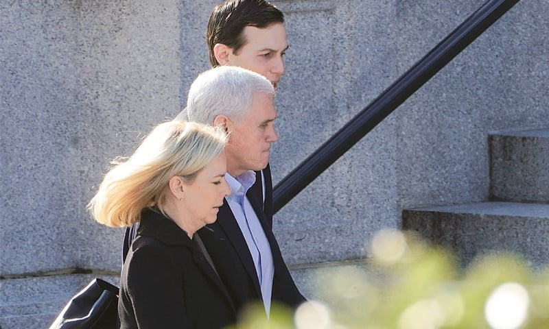 WASHINGTON: US Secretary of Homeland Security Kirstjen Nielsen, Vice President Mike Pence and Senior White House Adviser Jared Kushner walk from the West Wing to a meeting with Congressional staffers about ending the partial government shutdown.—Reuters