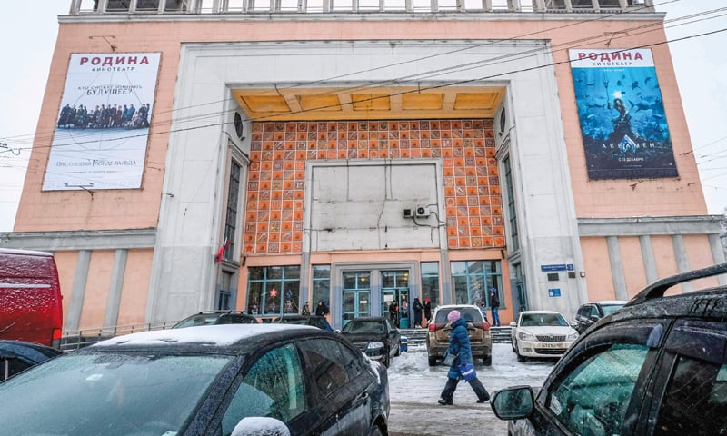 MOSCOW: A view of the 1938 Rodina (Motherland) cinema, a Stalinist landmark with huge pillars decorated with Soviet mosaics.—AFP