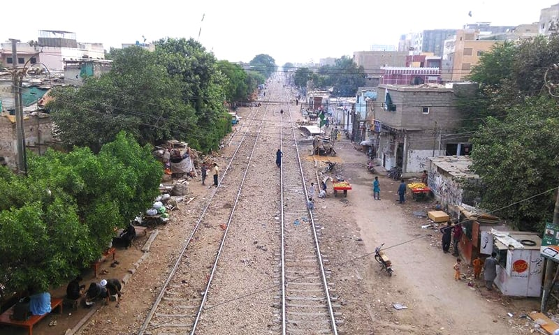 Houses built along the railway tracks in Umar Colony 1.
