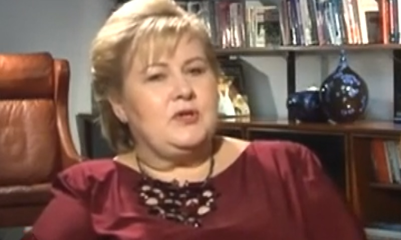 Norwegian Prime Minister Erna Solberg during an exclusive interview with India's NDTV. ─ NDTV screengrab