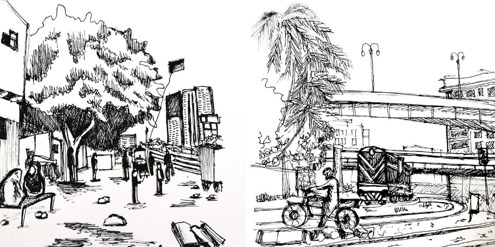 Sketches showing the integration of the tracks in the everyday lives of the residents of Kashmir Mujahid Colony.