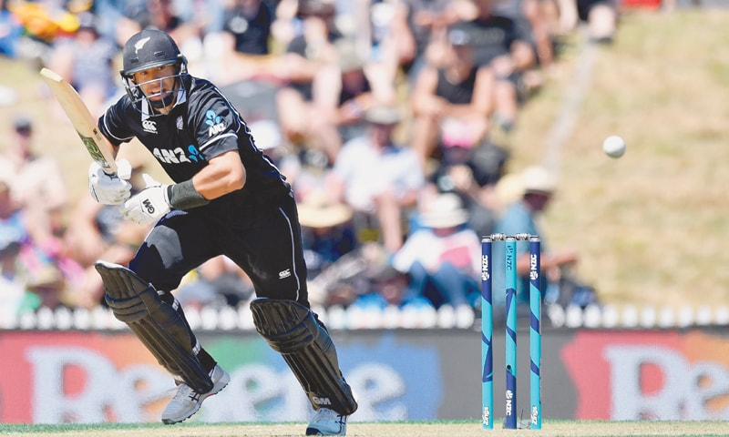 New Zealand batsman Ross Taylor takes a run during his century knock in the third ODI against Sri Lanka.—AFP