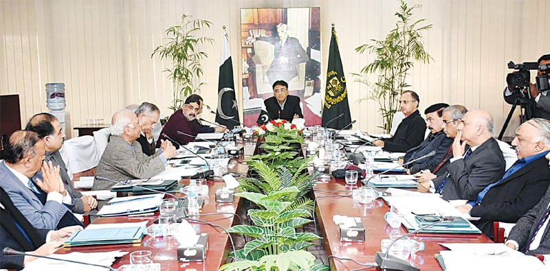 FINANCE Minister Asad Umar chairing the meeting of Economic Coordination Committee on Tuesday.—PPI