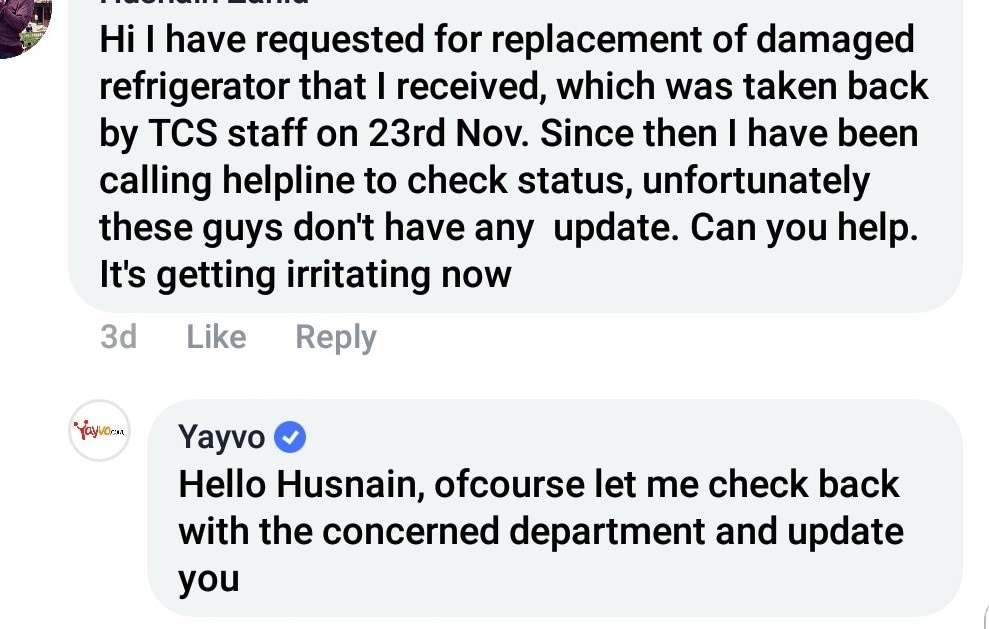 Yayvo's timely reply