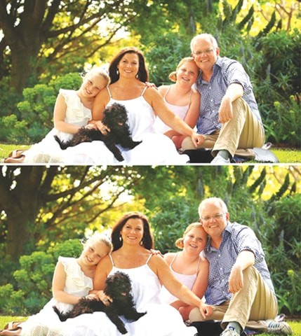 A COMBINATION of photographs provided by the Australian Department of Prime Minister and Cabinet shows (top) a doctored version of a portrait of Prime Minister Scott Morrison and his family, and an undated original portrait that later replaced the earlier version.—Reuters
