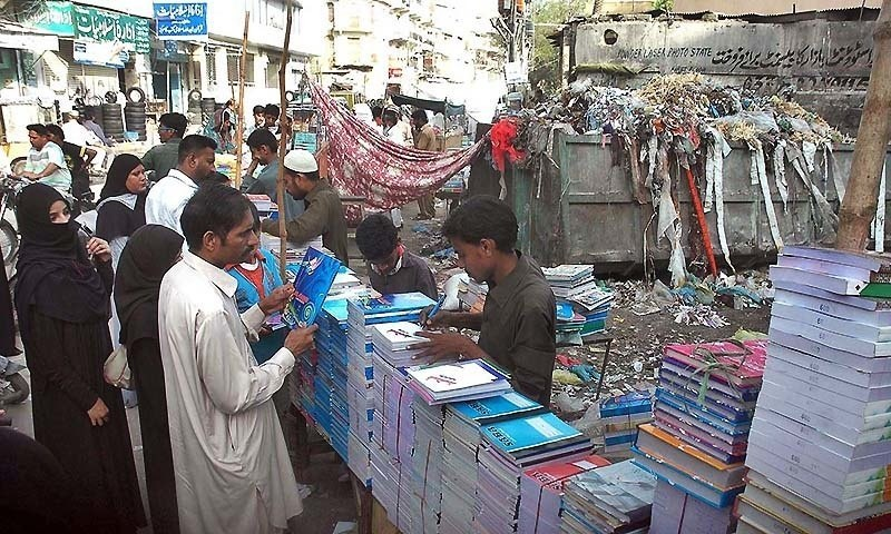 The vendors and merchants staged a protest on Tuesday against the impending anti-encroachment action at Urdu Bazaar as the KMC had on Jan 4 given them notices to vacate the government property before Jan 8 midnight. ─ APP/File