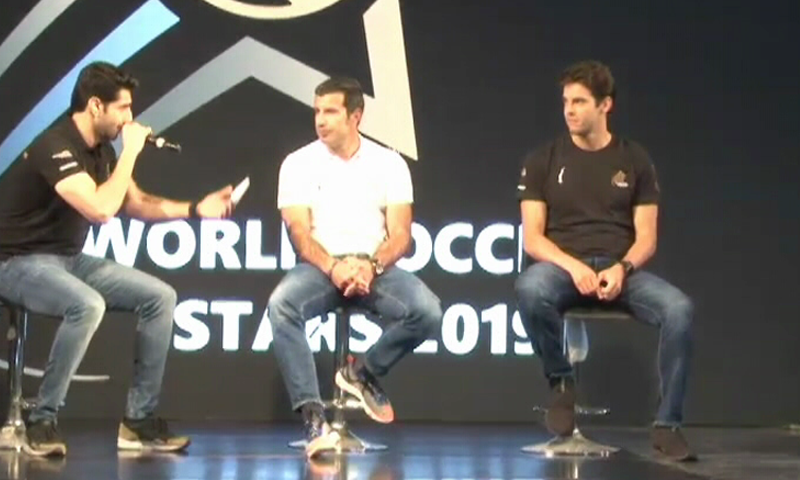 Football legends Kaka and Luis Figo speak at a ceremony in Karachi. ─ DawnNewsTV