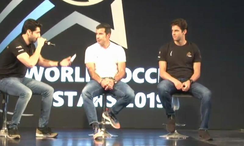 Football legends Kaka and Luis Figo speak at a ceremony in Karachi. ─ DawnNewsTV