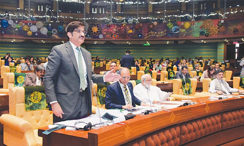 SINDH CM Syed Murad Ali Shah speaks during the assembly session on Thursday.—PPI