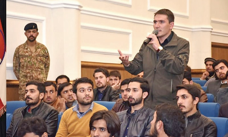 A student speaks during the question-answer session at the Corps Headquarters, Peshawar, on Thursday.