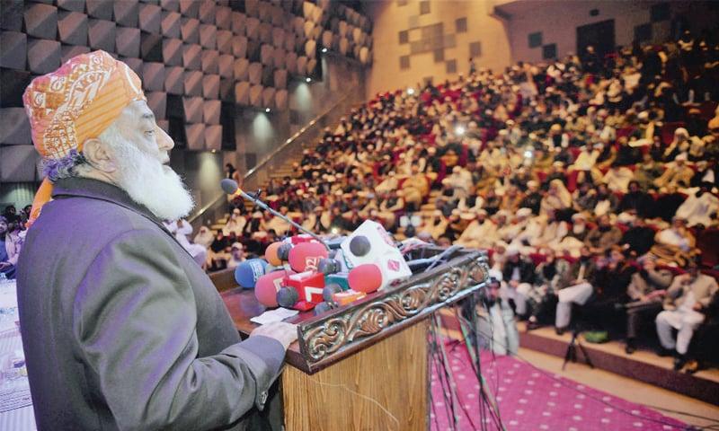 Maulana Fazlur Rehman addresses a condolence  reference for JUI-F provincial chief Maulana Amanullah Khan in Peshawar on Thursday. — White Star