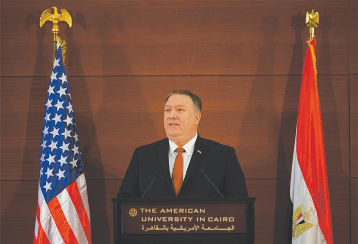 CAIRO: Mike Pompeo speaks to students of the American University on Thursday.—AFP