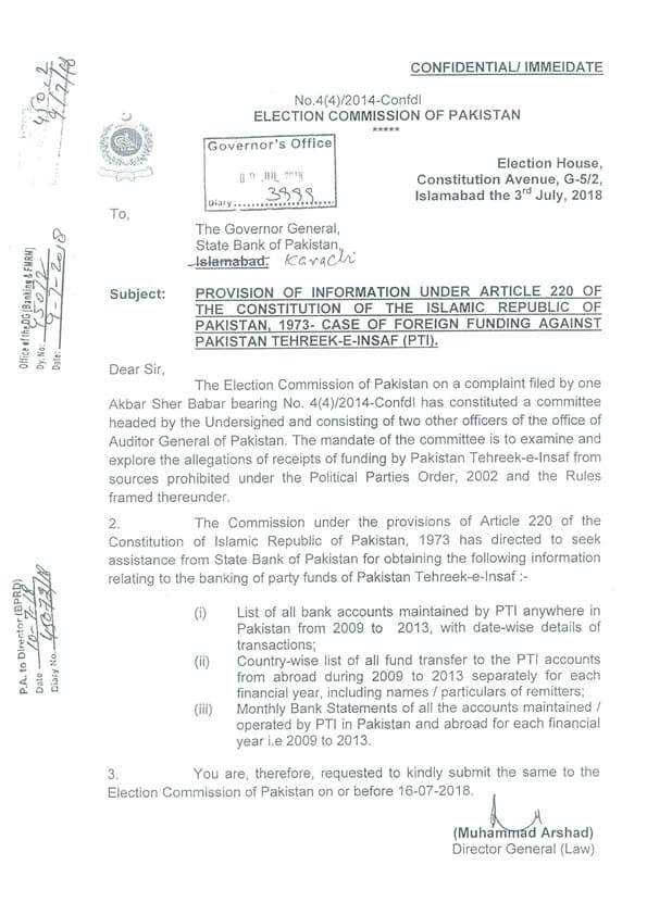 The letter to the State Bank governor on July 3, 2018. — Dawn