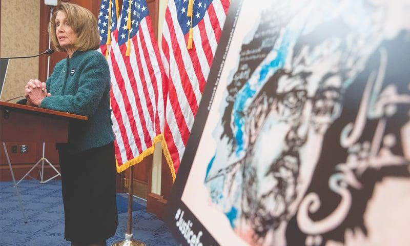 WASHINGTON: An image of slain reporter Jamal Khashoggi on display as US House Speaker Nancy Pelosi speaks at an event on Thursday.—AP