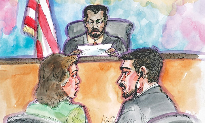 In this April 25, 2006 artist's sketch, terror probe defendant Hamid Hayat (right) and his attorney Wazhma Mojaddidi (left) listen as US District Judge Garlend E. Burrell Jr. reads the jury's guilty verdict at the federal courthouse in Sacramento.—AP