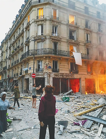 PARIS: The scene of the gas leak explosion on Saturday.—AP