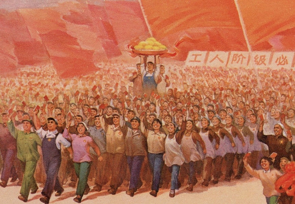 Detail from the poster 'Forging ahead courageously while following the great leader Chairman Mao!', 1969. Landsberger collection.
