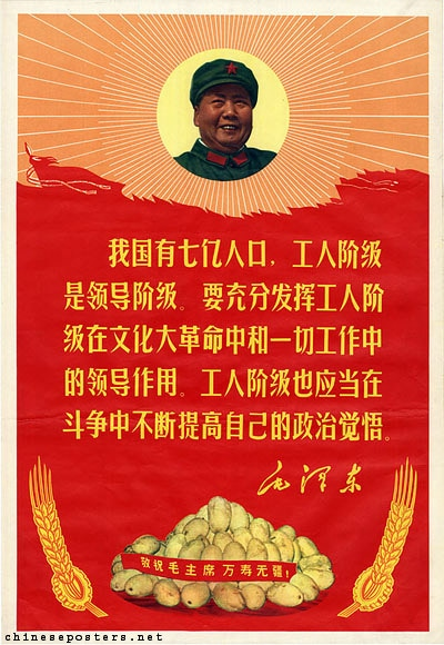 "Below a quotation by Mao is a pile of mangoes. The text on the red band reads: ""Respectfully wish Chairman Mao eternal life!"" Landsberger collection."