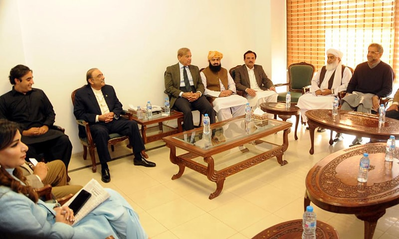 Leaders of opposition parties meet at a luncheon hosted by Shahbaz Sharif. — Photo: PML-N