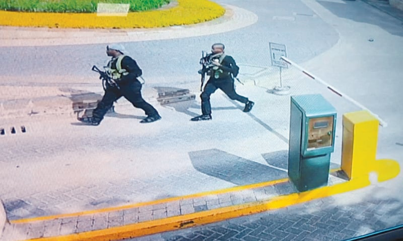 NAIROBI: In a still image taken from a CCTV footage on Wednesday, two of the gunmen are seen making their way into the complex.—Reuters