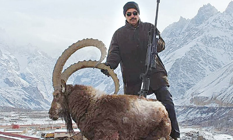Senator Talha Mahmood with his prized game. — Photo courtesy Dawn Newspaper