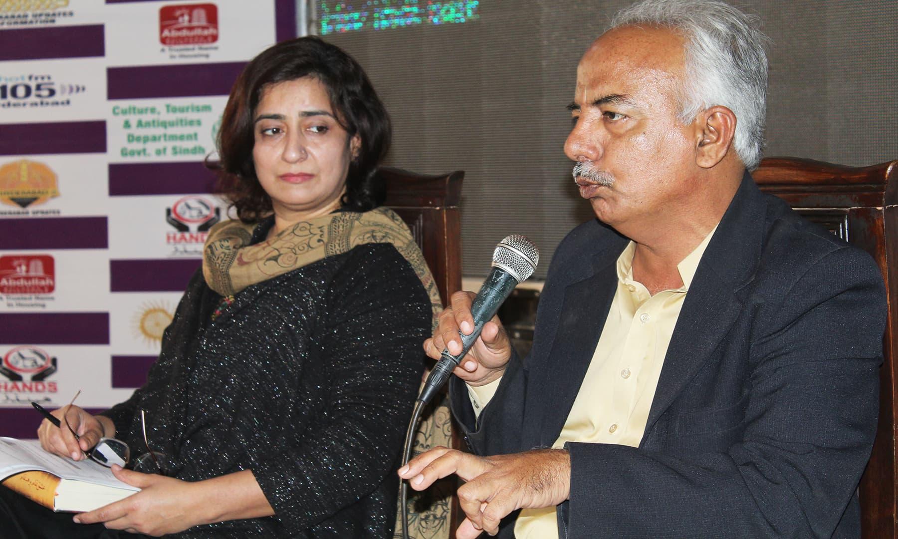 حیدرآباد لٹریچر فیسٹیول میں جاری ایک نشست کا منظر—تصویر اختر حفیظ