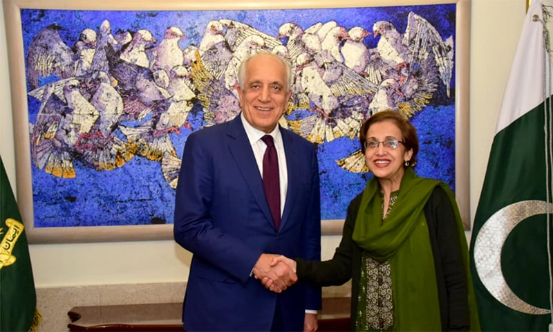 US Secretary of State's Special Representative for Afghanistan Reconciliation, Ambassador Zalmay Khalilzad, shakes Foreign Secretary Tehmina Janjua's hand at the Foreign Office in Islamabad. — Photo courtesy: Foreign Office