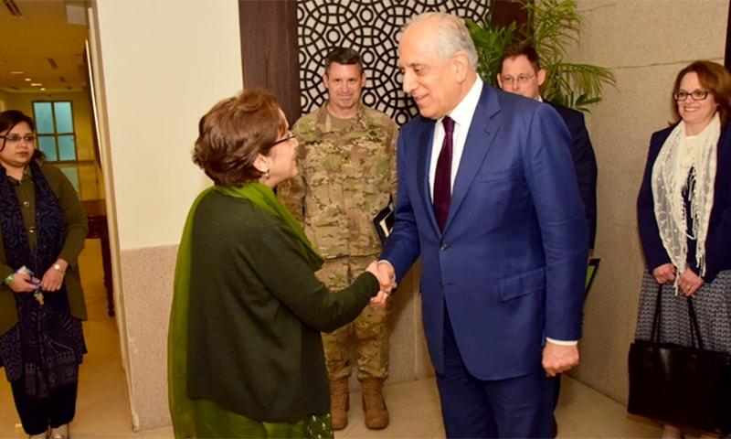 Foreign Secretary Tehmina Janjua welcoming US Ambassador Zalmay Khalilzad. — Photo courtesy: Foreign Office