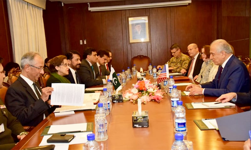 The US and Pakistan delegation held talks on the developments in the Afghan peace process. — Photo courtesy: Foreign Office