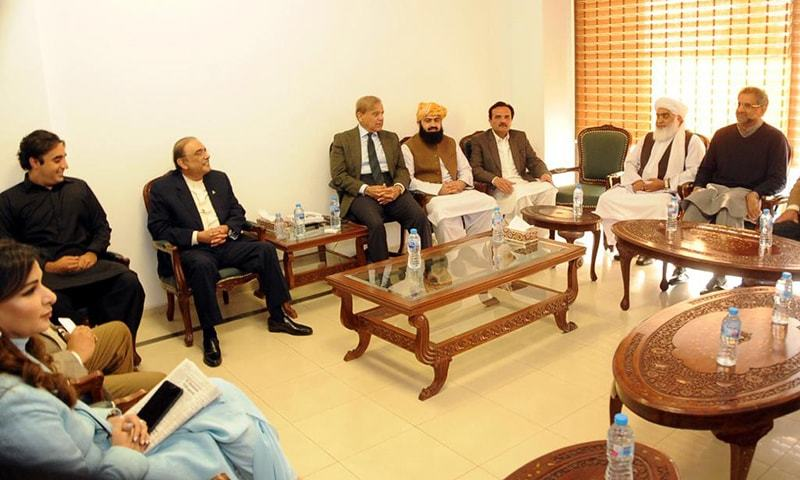 Leaders of opposition parties meet at a luncheon hosted by Shahbaz Sharif on Tuesday. — Photo: PML-N