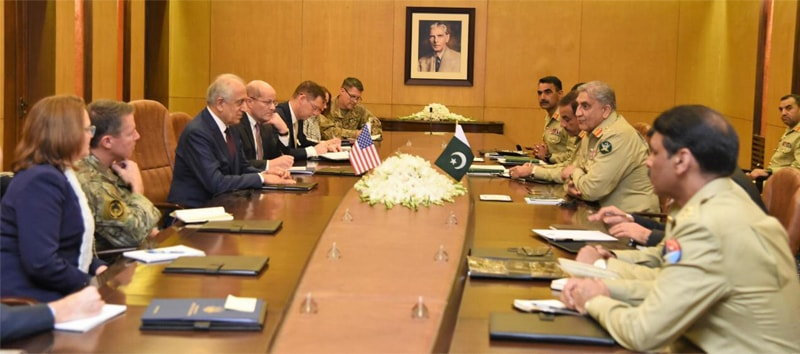 RAWALPINDI: Special Envoy for Afghan Reconciliation Zalmay Khalilzad, Commander Resolute Support Mission Gen Austin Scott Miller and other members of US delegation meet Chief of the Army Staff Gen Qamar Javed Bajwa at the General Headquarters on Thursday.—APP