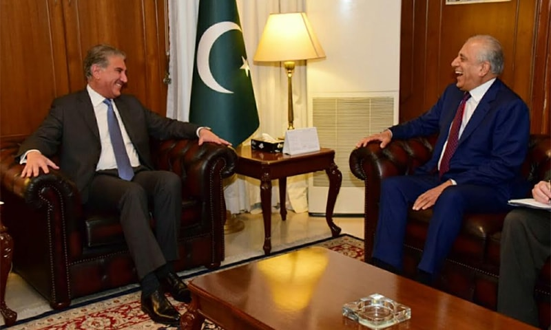 Foreign Minister Shah Mahmood Qureshi on Friday met with US special envoy for Afghan peace, Zalmay Khalilzad at the Ministry of Foreign Affairs in Islamabad. — Photo courtesy Naveed Siddiqui