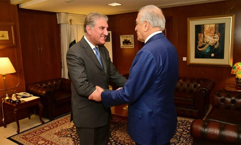 Foreign Minister Shah Mahmood Qureshi on Friday met with US special envoy for Afghan peace Zalmay Khalilzad at the Ministry of Foreign Affairs in Islamabad. — Photo courtesy Naveed Siddiqui