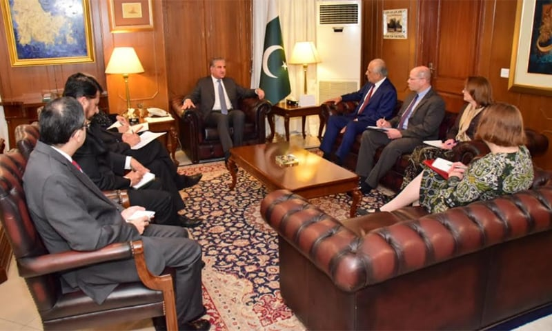 Khalilzad, who was accompanied by a US interagency delegation representing the departments of defence, state and National Security Council, thanked Qureshi for facilitating the direct talks between the US and the Afghan Taliban. — Photo courtesy Naveed Siddiqui
