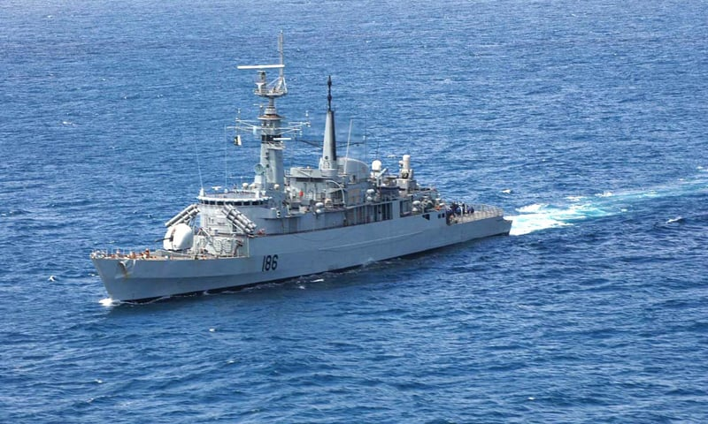 Pakistan Navy ship Shahjahan participates in the 9th Thamar Al Tayyib Exercise in Omani waters.—APP