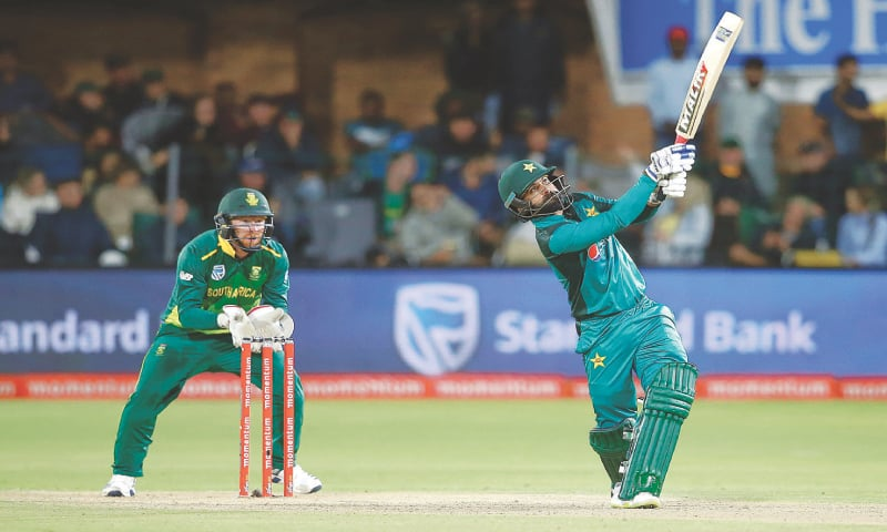 Mohammad Hafeez hits a six during his innings.—AFP