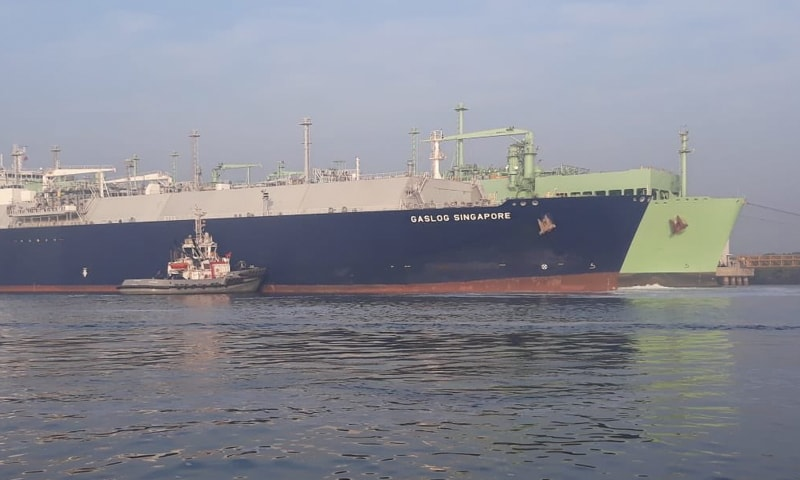 The photos of LNG ships berthed on Saturday were tweeted by Maritime Minister Ali Haider Zaidi.