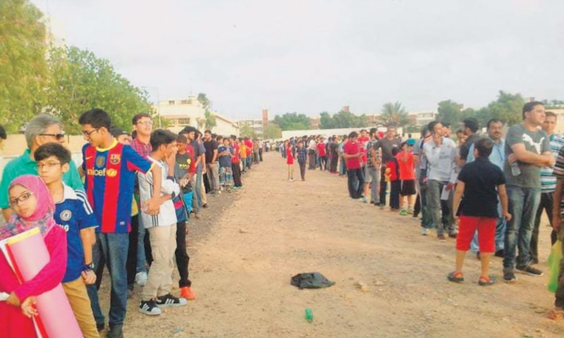 Fans lined up for a Ronaldinho and Friends exhibition game in 2017