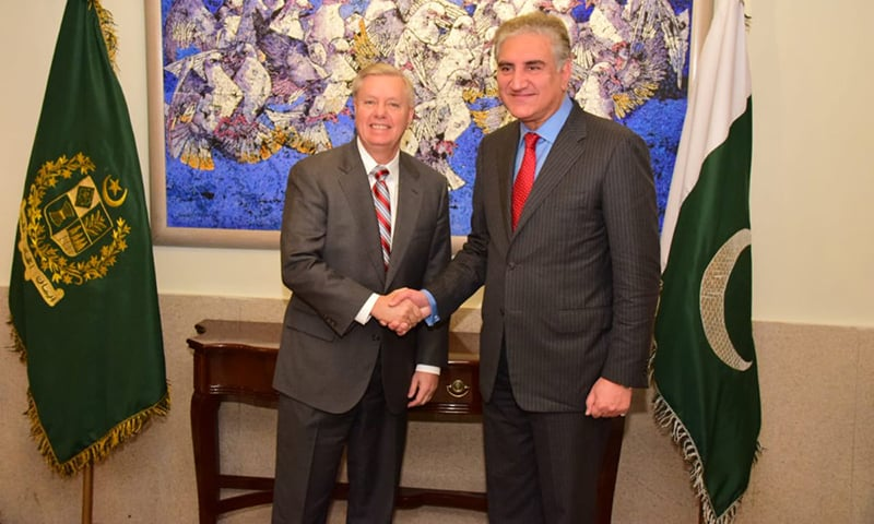 Foreign Minister Shah Mahmood Qureshi met with US Senator Lindsey Graham in Islamabad on Sunday. — Photo courtesy Dr Mohammad Faisal Twitter