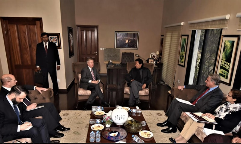 Senator Lindsey Graham praised Prime Minister Imran Khan's vision to advocate for a political solution to the Afghan conflict. — Photo courtesy: PM Office