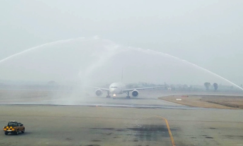 PIA flight PK-720 being given a water cannon salute. — Photo provided by author