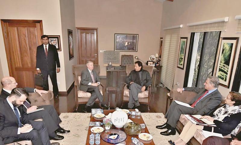 US Senator Lindsey Graham calls on Prime Minister Imran Khan on Sunday.—Dawn