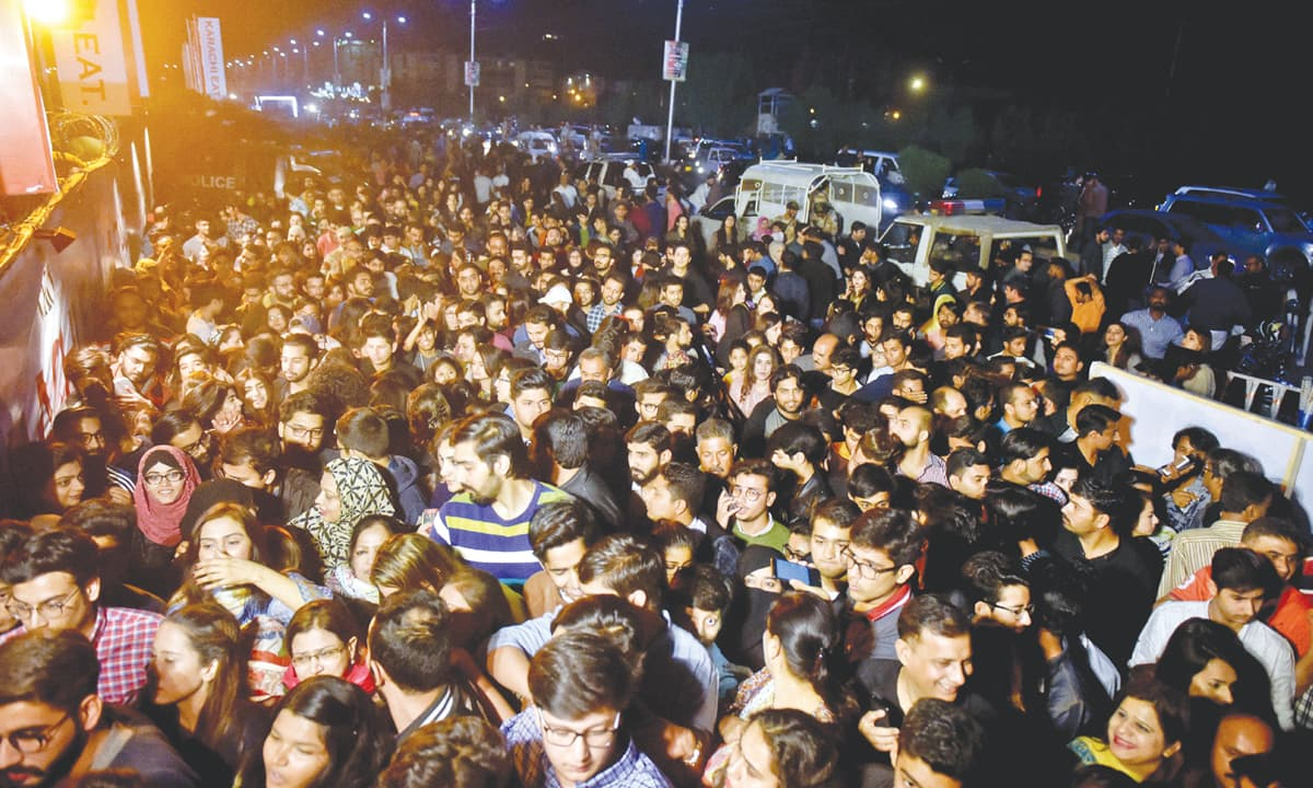 A crowd gathered at the entrance of Shaheed Benazir Bhutto Park to attend a food festival | Fahim Siddiqui, White Star