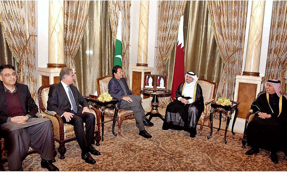 PM Imran Khan meets Qatar's PM Abdullah bin Nasser bin Khalifa Al Thani at his residence. —APP