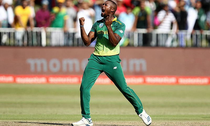 Andile Phehlukwayo of South Africa celebrates a wicket. — AFP