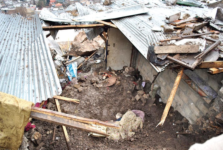The ill-fated house that was hit by a landslide in Abbottabad on Tuesday. — Online