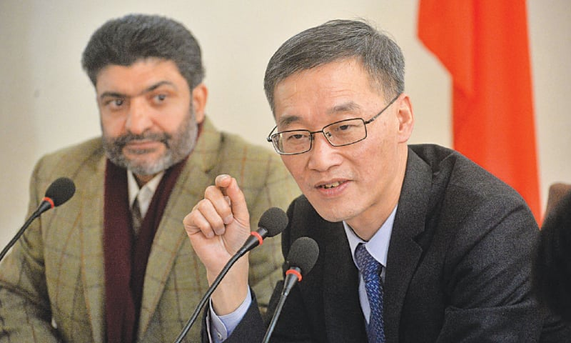 AMBASSADOR Yao Jing speaking at the conference. — Shahbaz Butt
