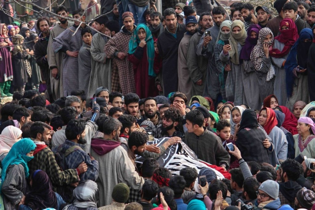 Thousands participate in the funeral procession of Adnan Lone in Pulwama district. Adnan, a senior Hizb-ul-Mujahideen Rebel, was killed in by government forces in November 2018
